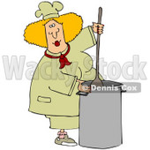Clipart Illustration of a Blond White Culinary Chef Woman Mixing A Pot Of Food In A Kitchen © djart #28516