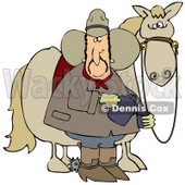 Clipart Illustration of a Spooked Horse Standing Behind A Cowboy Pouring A Cup Of Coffee © djart #28959