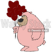 Clipart Illustration of a Big Pink Bear Standing And Holding A Bunch Of Red Heart Shaped Valentine's Day Balloons © djart #30278