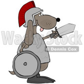 Clipart Illustration of a Military Dog Warrior In A Helmet, Carrying A Sword And Shield © djart #34039
