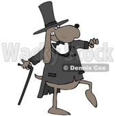 Clipart Illustration of a Brown Gentleman Dog In A Tux And Top Hat, Carrying A Cane And Walking Or Dancing © djart #34040
