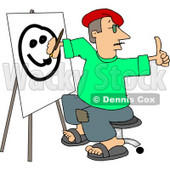 Male Artist Drawing a Smiley Face On Canvas with a Paintbrush Clipart © djart #4174