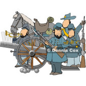 Civil War Soldiers and Horse, Armed with a Cannon and Rifles Clipart © djart #4264
