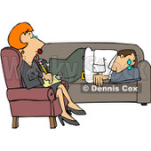 Royalty-Free (RF) Clipart Illustration of a Red Haired Counselor Listening To A Depressed Man © djart #434421