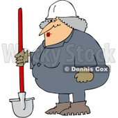Royalty-Free (RF) Clipart Illustration of a Female Construction Worker Standing With A Shovel © djart #435993