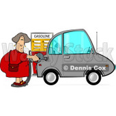 Woman Pumping Unleaded Gas Into Her Compact Car Clipart © djart #4621