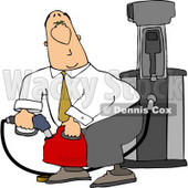 White Businessman Pumping Gasoline Into a Gas Can Clipart © djart #4622