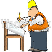 Male Architectural Engineer Writing On a Blueprint with a Pencil Clipart © djart #5009