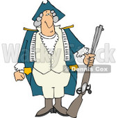 American Revolutionary War Soldier Holding a Loaded Rifle Clipart © djart #5040