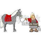 Roman Army Soldier Standing with a Horse Clipart © djart #5070