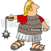 Roman Army Soldier Battling with a Ball and Chain Mace Weapon Clipart © djart #5078