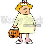 White Girl Wearing Halloween Nurse Costume While Trick-or-treating Clipart © djart #5215