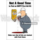 Royalty-Free (RF) Clipart Illustration of a Bleeding Man Trying To Find The Right First Aid Products © djart #59725