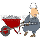 Royalty-Free (RF) Clipart Illustration of a Male Worker Pushing A Wheelbarrow Full Of Concrete Mix © djart #59761