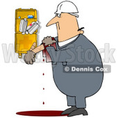 Royalty-Free (RF) Clipart Illustration of an Injured Worker Bleeding Near A First Aid Kit © djart #59769