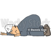 Royalty-Free (RF) Clipart Illustration of a Worker Man With A Bad Back, Crawling On The Ground © djart #59774