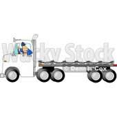 Man Backing Up a Semi Truck with an Empty Flatbed Trailer Clipart Picture © djart #5989