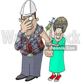 Scared Worker with Trypanophobia Getting a Flu Shot from a Nurse Clipart Picture © djart #5991