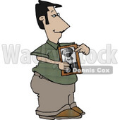 Proud Dad Representing a Photograph of His Son in the Military Clipart Picture © djart #6097