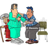 Male Nurse Taking a Man's Blood Pressure Reading While a Senior Woman Walks With a Cane in the Hospital Clipart Picture © djart #6156