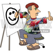 Male Painter Artist Giving the Thumbs Up While Painting a Smiley Face on Canvas Clipart Picture © djart #6254