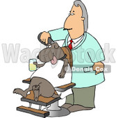 Male Dog Groomer Grooming a Dog With a Razor While He Sits in a Chair, Holding a Drink Clipart Picture © djart #6271