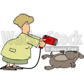 Female Groomer Blow Drying a Dog Clipart Picture © djart #6273