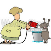 Dog Being Dried by a Female Dog Groomer Clipart Picture © djart #6274