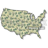 Royalty-Free (RF) Clipart Illustration of a Green Camouflage USA Map © djart #62956