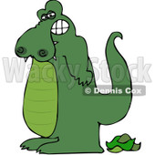 Royalty-Free (RF) Clipart Illustration of a Green Alligator Standing Over His Poop © djart #84893