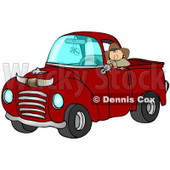 Royalty-Free (RF) Clipart Illustration of a Cowboy Leaning Out The Window Of His Vintage Red Pickup Truck With Horns On The Hood © djart #88337