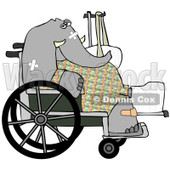 Royalty-Free (RF) Clipart Illustration of an Injured Elephant Recovering In A Hospital, Sitting In A Wheelchair With A Sling And Cast © djart #93118