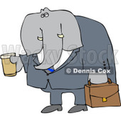 Royalty-Free (RF) Clipart Illustration of an Elephant Businessman Carrying Coffee And A Briefcase © djart #98777